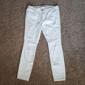 White Distressed Jean Leggings